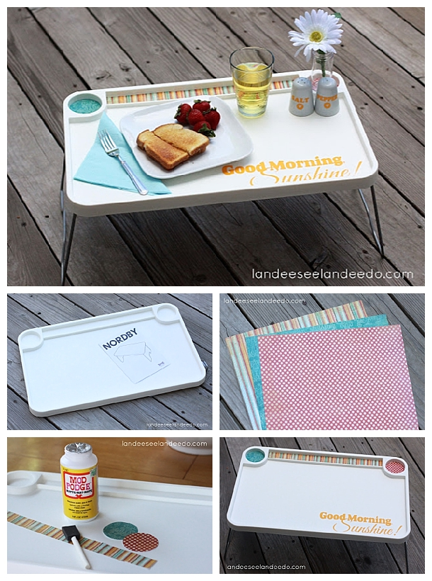 Ikea Breakfast Tray DIY Makeover Hack!  Turn a cheap IKEA tray into the cutest of gifts - customize it for the perfect Do It Yourself Wedding Gift, Mother's Day or any time!  So cute.