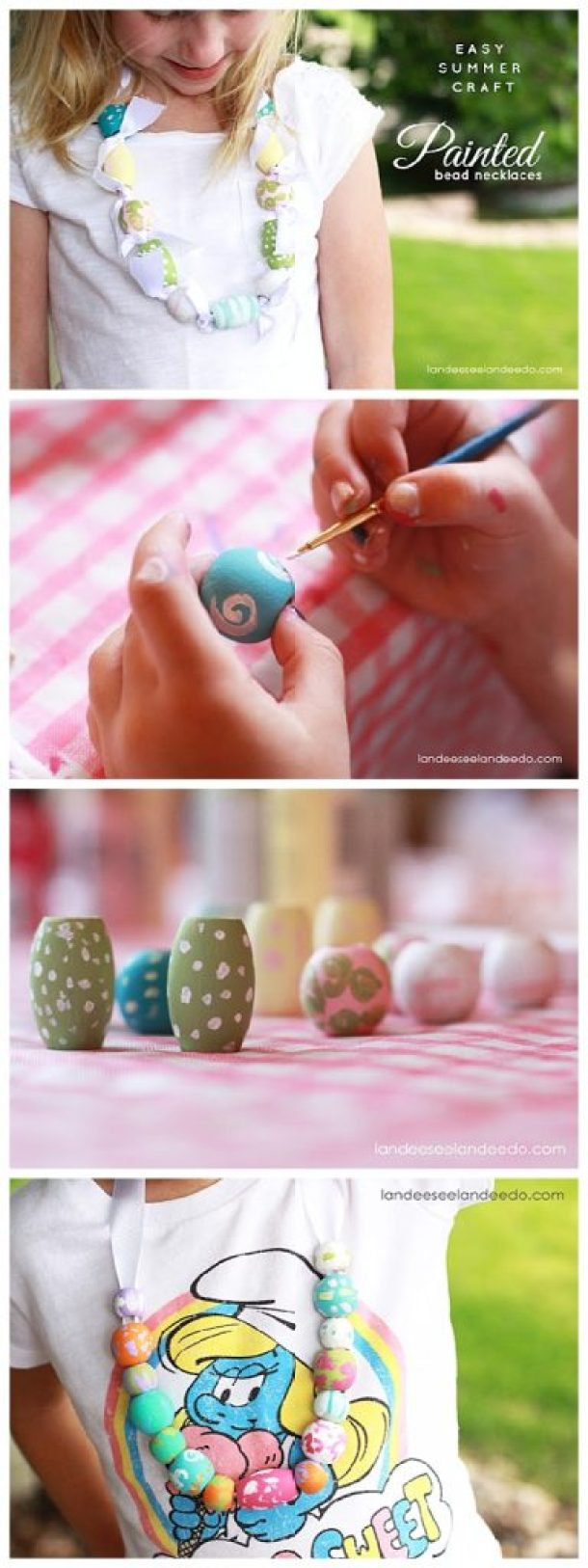 Easy and FUN Kids Craft Art Activity!  DIY Wooden Painted Beads Necklace Tutorial - perfect for summer fun! | landeelu.com