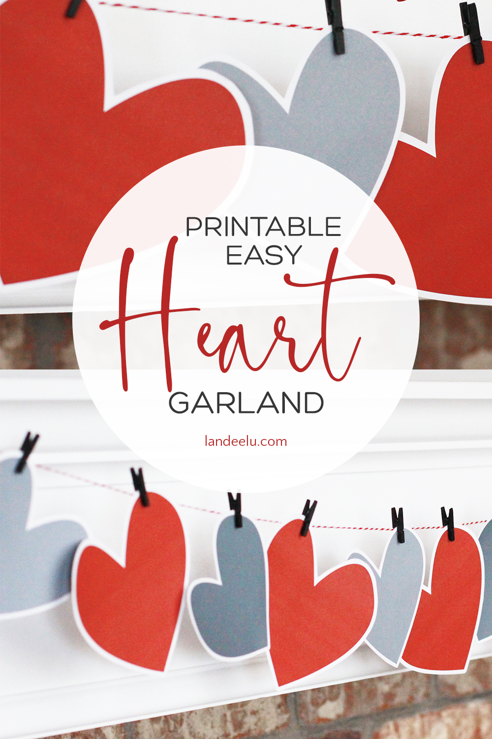 Darling and super easy printable Valentine heart garland!  Just download, print and cut out!  Love this idea.  #valentinesday #valentine #valentinegarland #heartgarland #valentineprintable
