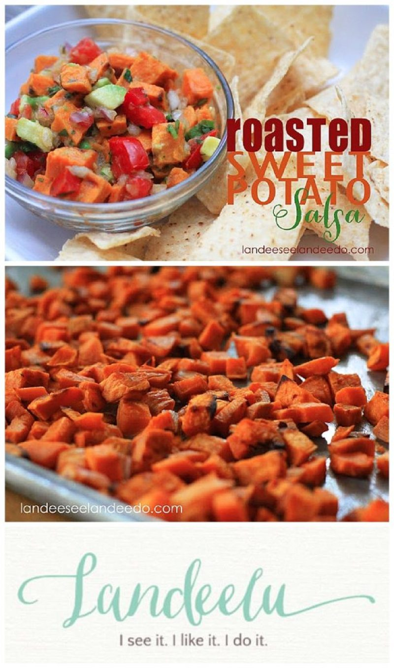 DELISH!!! Roasted Sweet Potato Salsa Recipe - the best appetizer that is so addicting!