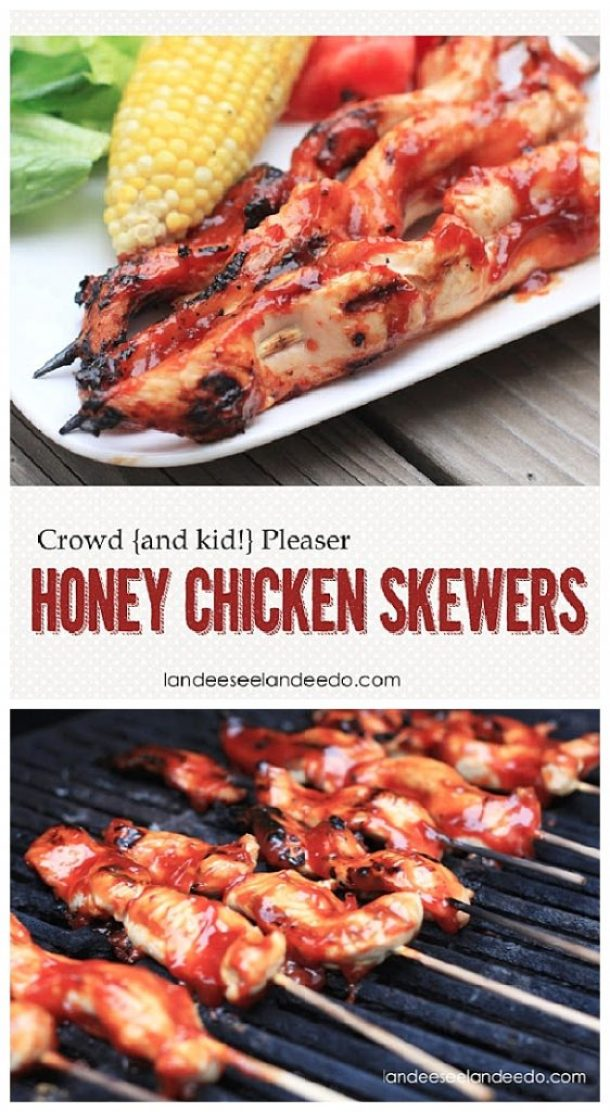 Crowd Pleaser Honey Chicken Skewers Recipe | Landeelu - The BEST Honey Chicken Skewers Recipe - Easy to throw on the grill and the entire crowd will love these. Even the picky kids!