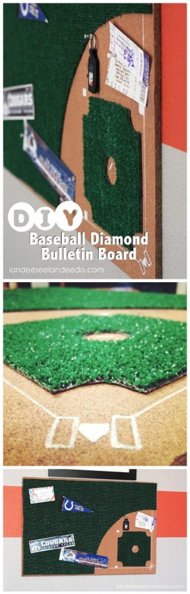 Diy baseball diamond bulletin board for Diy bulletin board for bedroom