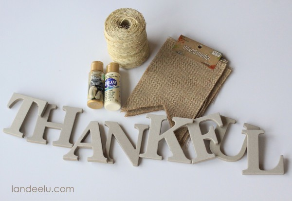Supplies needed for Easy Burlap Thanksgiving Bunting