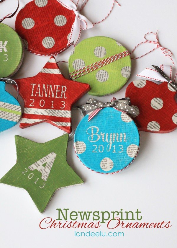handmade newsprint ornaments title