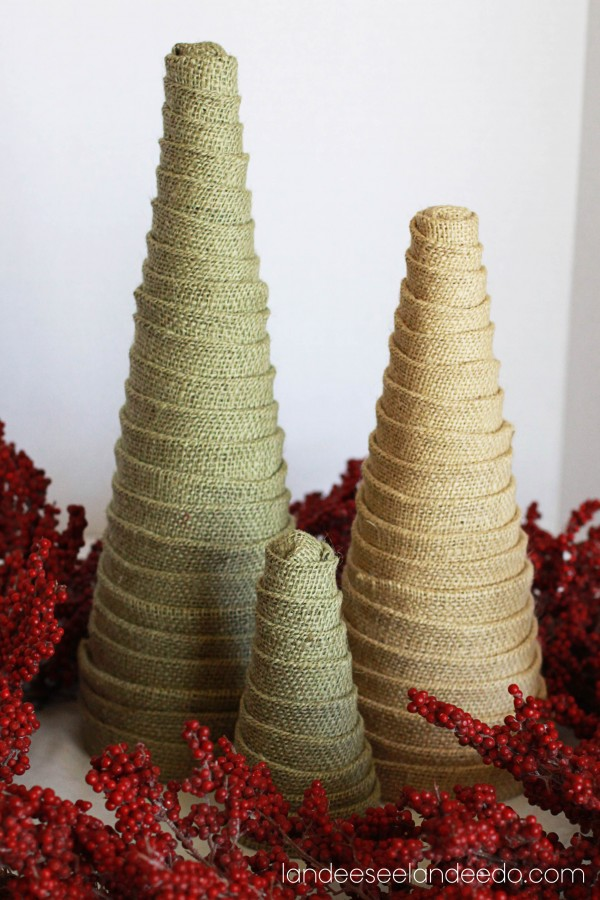 Burlap Wrapped Table Top Trees