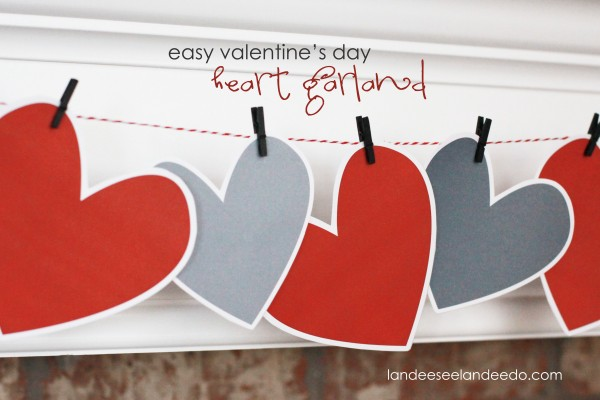 Free Printable Heart Garland for Valentine's Day