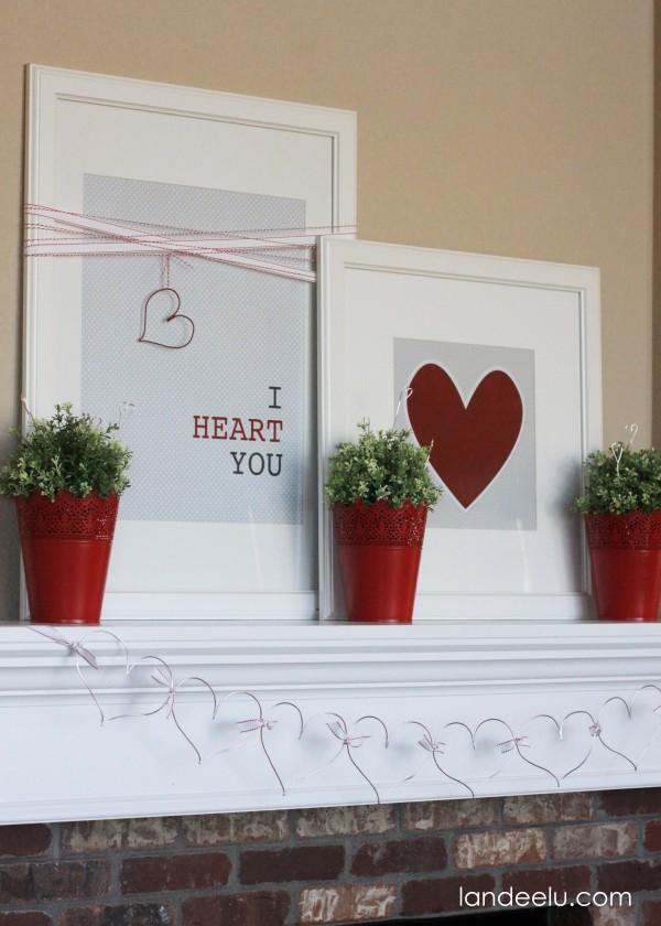 Printable Valentine's Day Mantel Decor