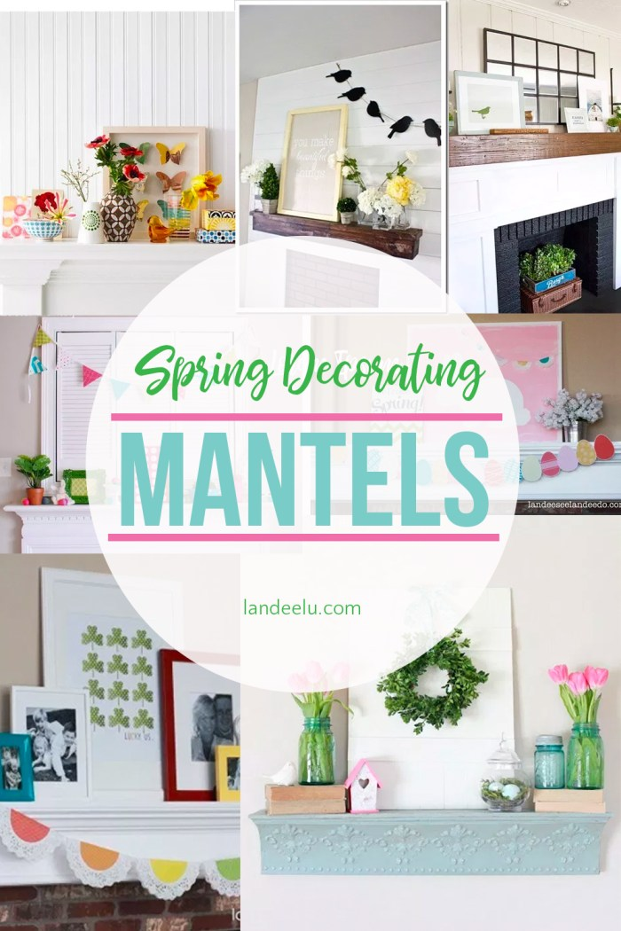 Check out these fun spring decorating ideas for your mantel! So fresh and fun for spring! #springdecor #springmanteldecor #springmantel #springdecorating