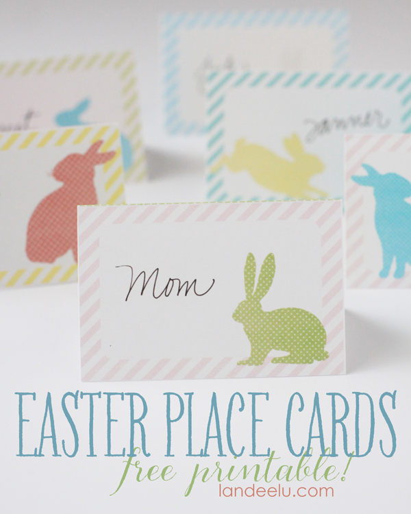 Pretty Easter Place Cards - FREE printables in pretty Spring pastel colors with bunnies!