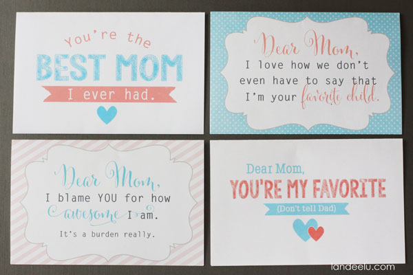 Funny Mother's Day Cards--4 free printables from landeelu.com