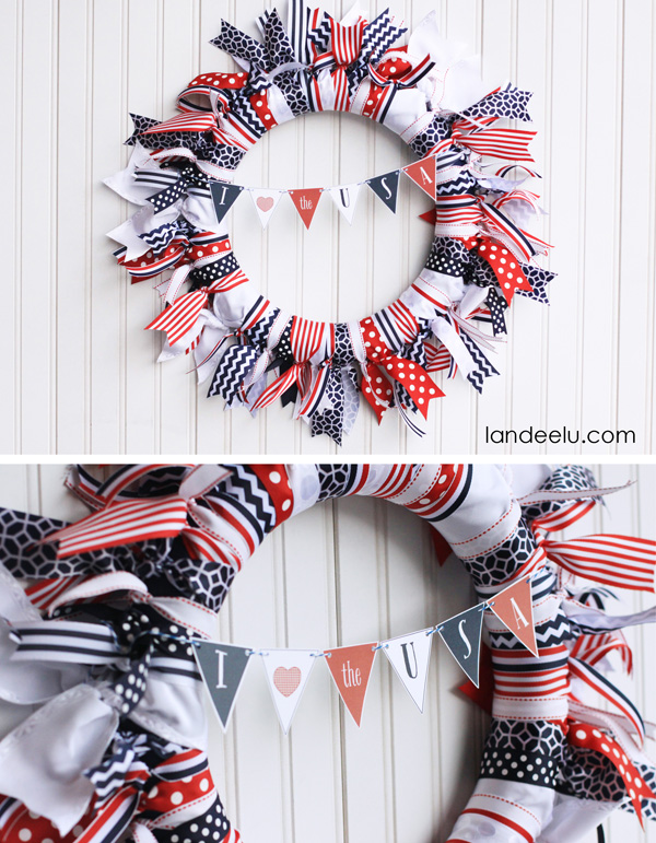 4th of July Ribbon Wreath with cute and free printable mini bunting!