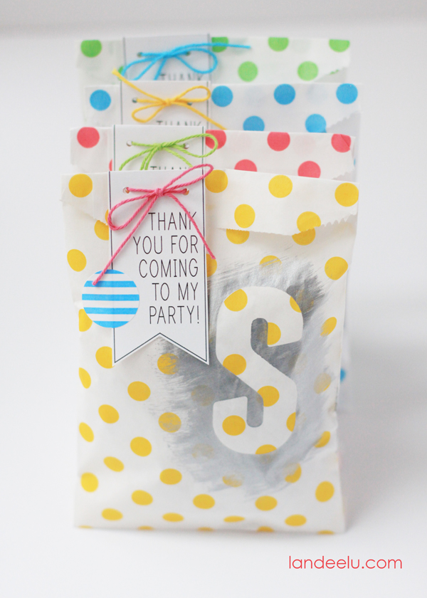 Colorful Painted Party Favor Bags Idea