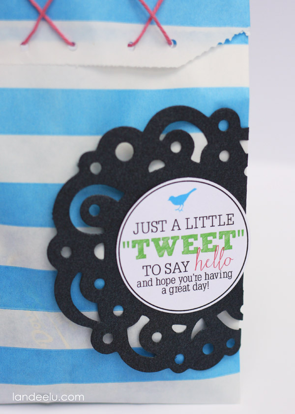 "Just a little ""TWEET"" gift idea to drop a goodie off at a friend's house!  Everyone loves a yummy ""tweet"" and to know someone is thinking about them!"
