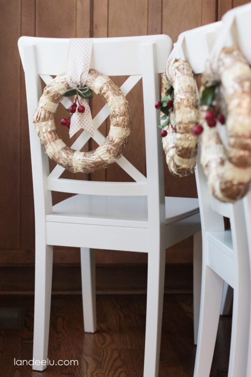Christmas Chair Wreaths | landeelu.com  So pretty!