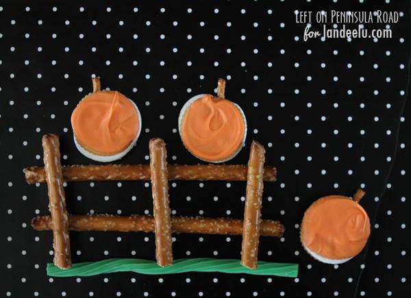 Pumpkin S'mores on a Pretzel Fence