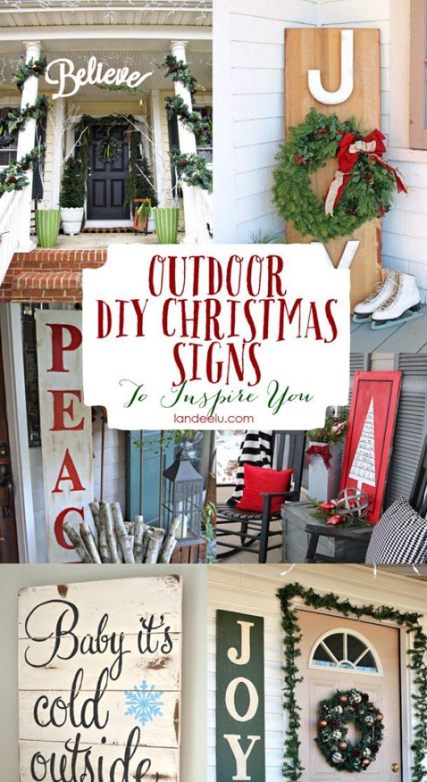 DIY Outdoor Christmas Sign Ideas | landeelu.com