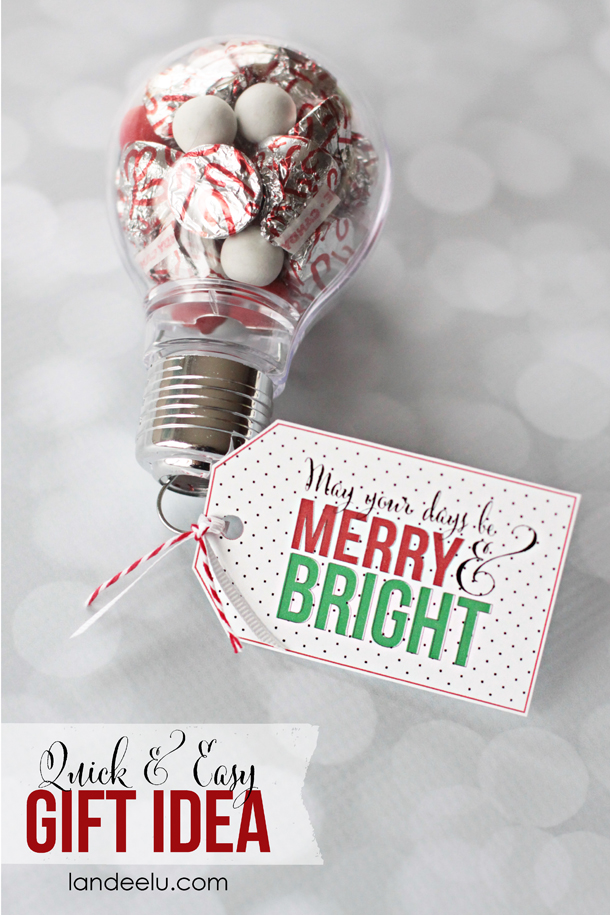Merry And Bright Gift Idea With Printable Tag