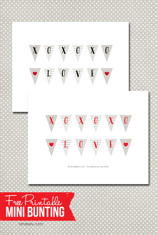 Free Printable Mini Bunting for Valentine's Day So cute! | landeelu.com