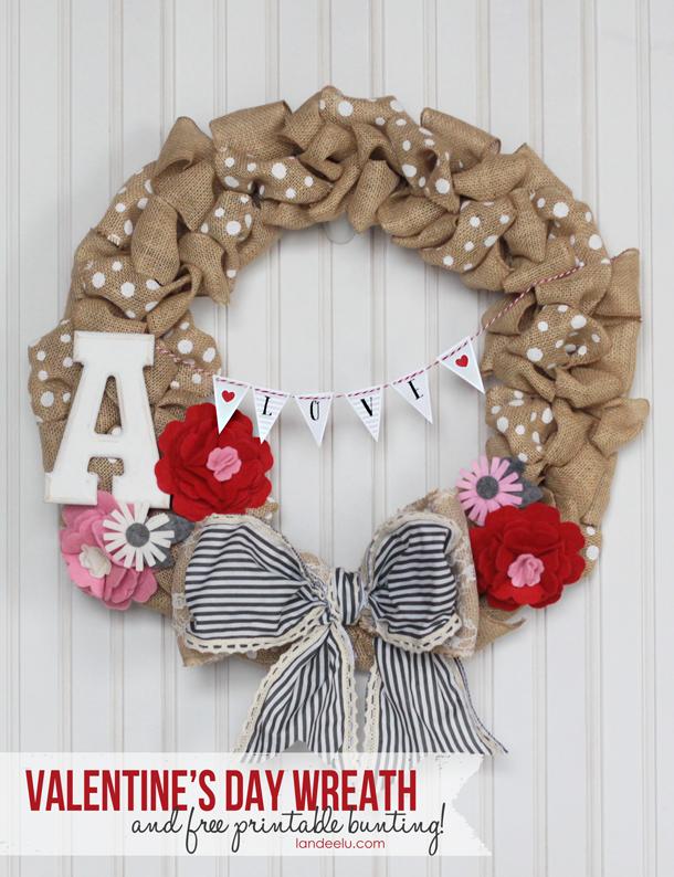 Valentine's Day Wreath Idea and free printable mini bunting! | landeelu.com