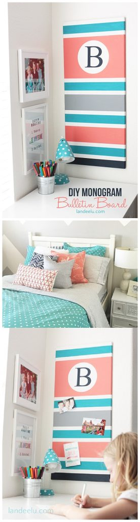 Easy DIY Monogrammed Bulletin Board Makeover - Step by Step Do it Yourself Home Decor Tutorial