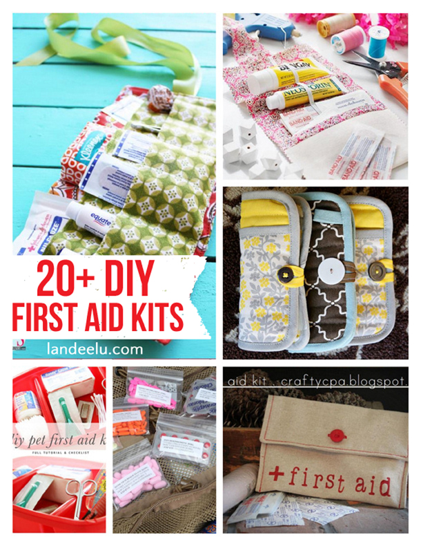 20+ DIY First Aid Kits   landeelu.com  Great ideas to make sure you always have first aid supplies on hand!