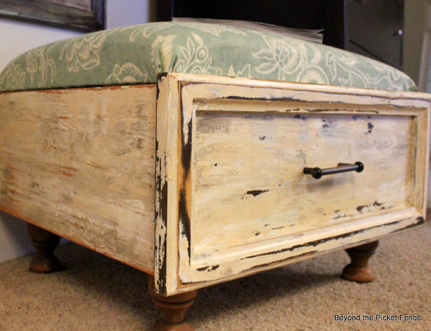 Beyond the picket fence Ottodrawertastic DIY ottoman from an old drawer