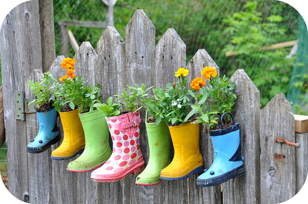 Boot planters on the fence