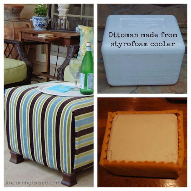 DIY ottoman made from a styrofoam cooler by imparting grace