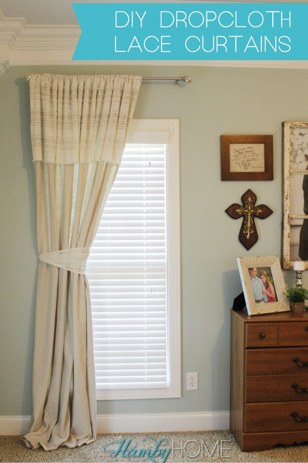 Diy Dropcloth And Lace No Sew Curtains