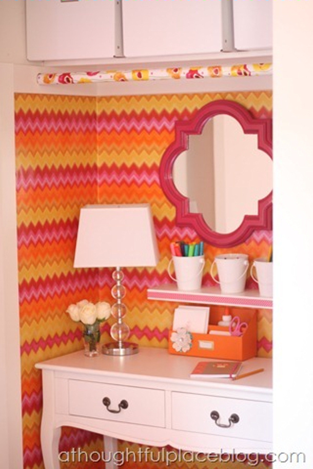 Study space in the closet DIY tutorial by a thoughtful place blog for landeelu dot com roundup