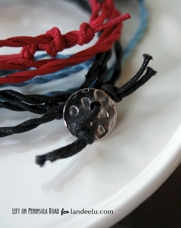 Twisted Cord Bracelet with Button and Loop Closure