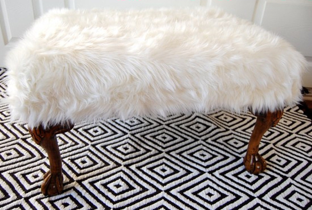 nesting place Fur Ottoman makeover tutorial DIY