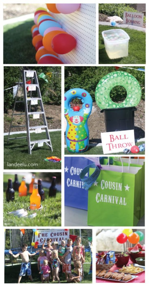 Cousin Carnival Party Idea: So many fun DIY games you can make out of what you have around the house! landeelu.com