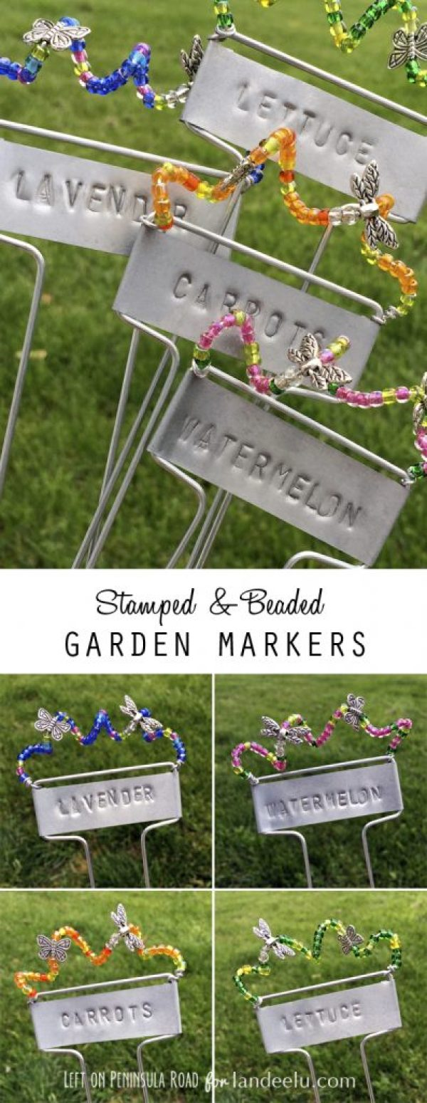 Stamped and Beaded Garden Markers collage from Left on Peninsula Road