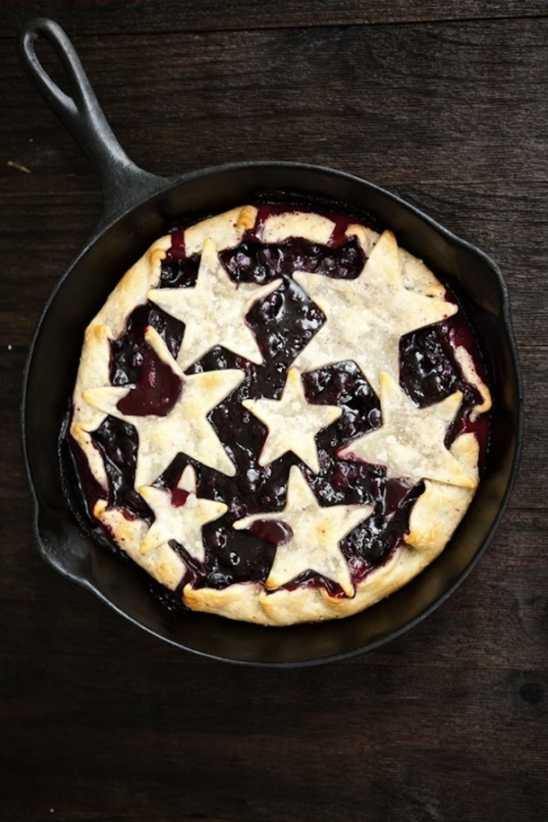 grilled lemon blueberry skillet pie with stars