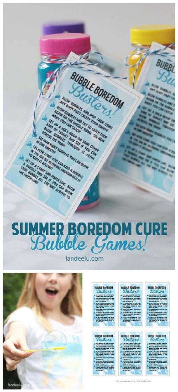 Bubble Games - Fun Boredom Busters for Kids this Summer!  Grab the FREE PRINTABLE Tags and attach them to a jar of cheap bubbles for a fun party favor or to use anytime!