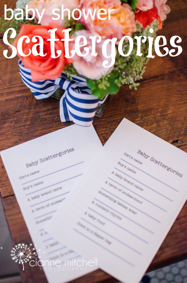 Baby Shower Scattergories via we heart parties