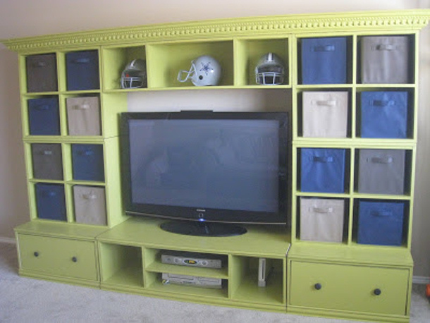 Toy Hutch Entertainment Center with plans via Shanty2Chic