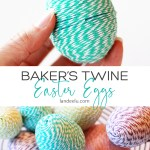 Darling Easter Egg craft! Wrap cheap easter eggs with some cute baker's twine and transform them! #eastercraft #eastereggs #bakerstwine #easter