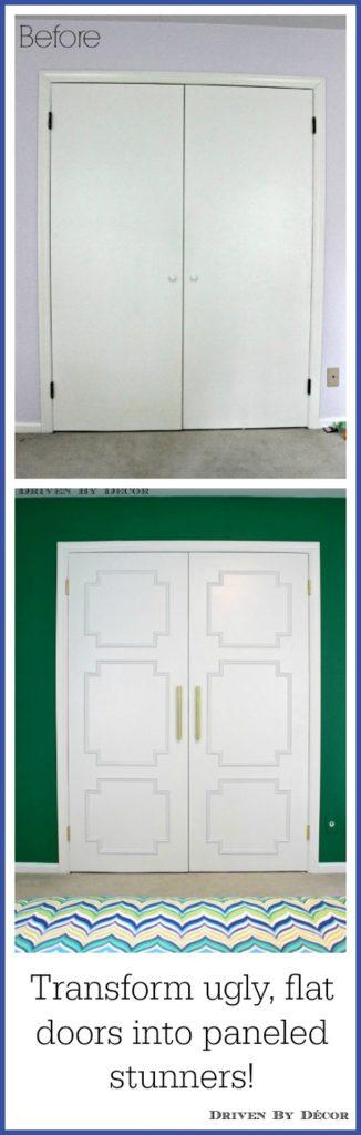 Transform flat paneled doors with panel molding diy Tutorial via Driven By Decor & DIY Interior Door Hacks | landeelu.com