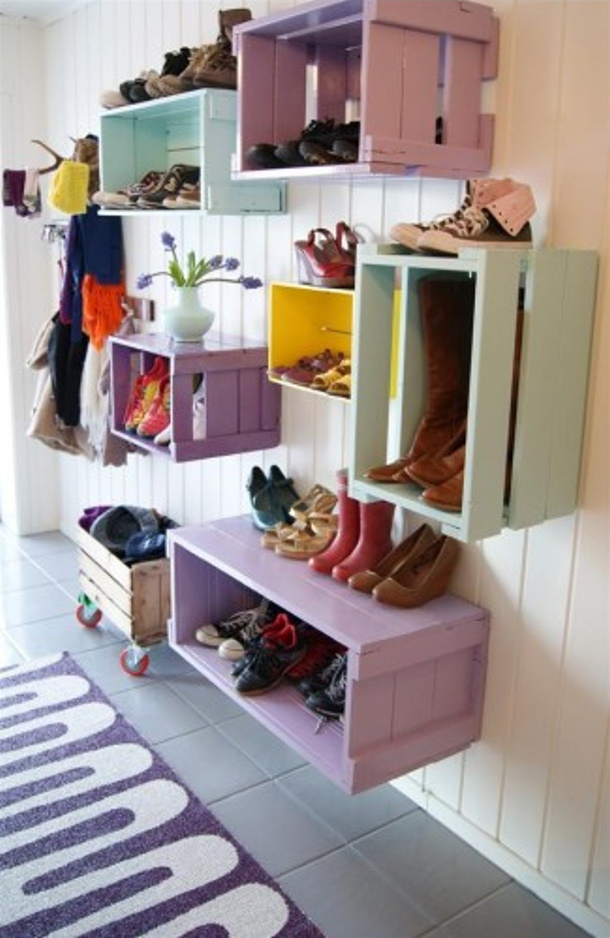 colorful-wooden-crate-shoes-storage-via emerald interior design