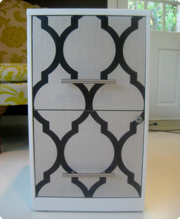 file cabinet wallpaper makeover via design sponge