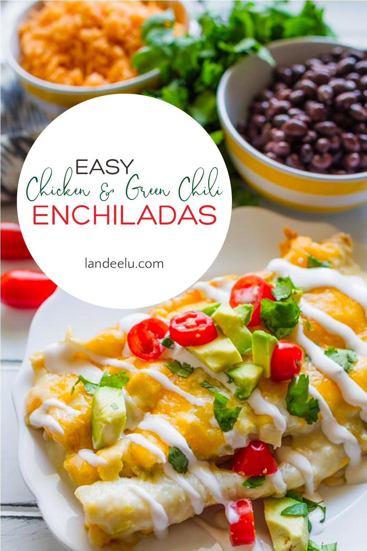 These easy chicken and green chili enchiladas are sure to be a family favorite! #enchiladas #chickenenchiladas #enchiladarecipe #mexicanfood