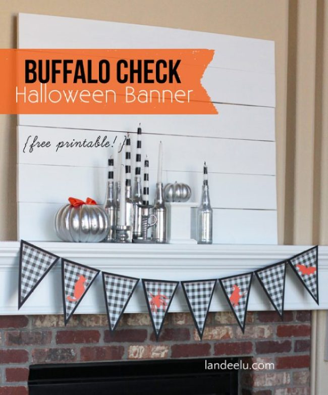 Printable Buffalo Check Halloween Banner | landeelu.com Free printable for an adorable black and white plaid banner for Halloween!