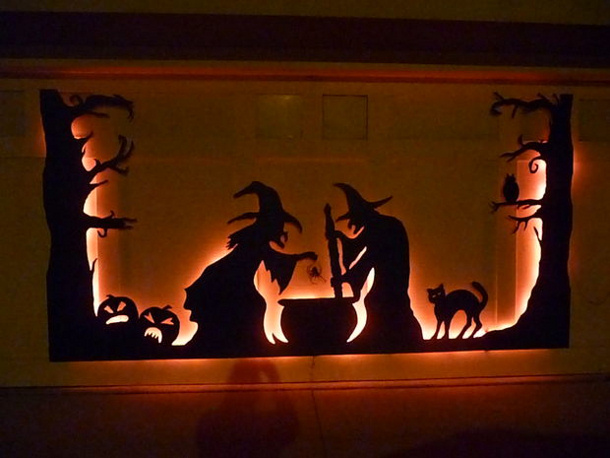 Garage Door Witches Cauldron Glowing Sillhouette via instructables