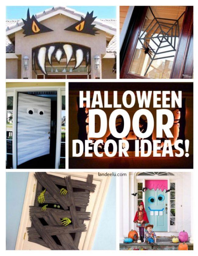 Halloween Door Decor Ideas | landeelu.com So many fun ideas to dress up the outside of your house for Halloween!