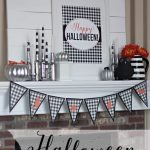 Halloween Mantel... cute gingham check printables! Love the black and white with orange too! landeelu.com