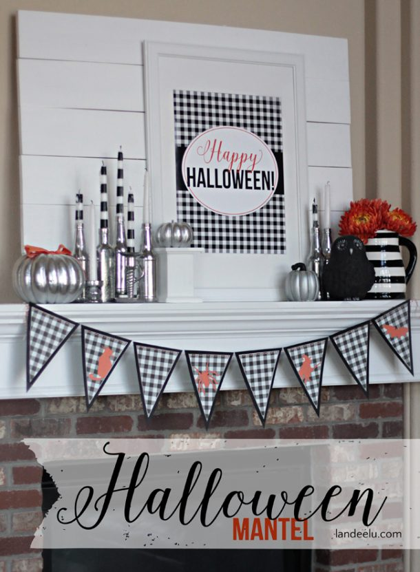 I LOVE the black and white with little pops of orange.  And of course the silvery bling!  Happy Halloween Mantel with Free Printables | Landeelu