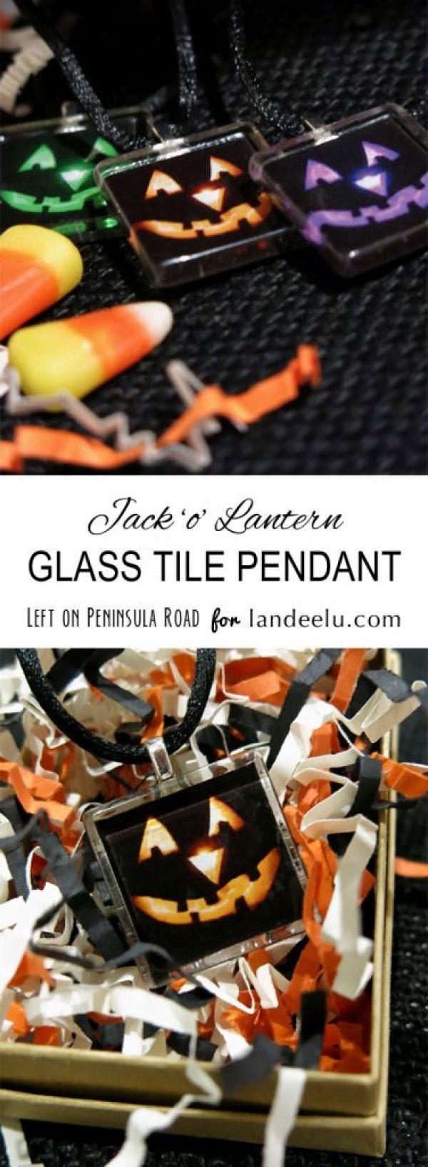 Jack 'o' Lantern Tile Pendant by Left on Peninsula Road for landed.com
