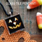 Jack-o'-Lantern Glass Tile Pendants for Halloween